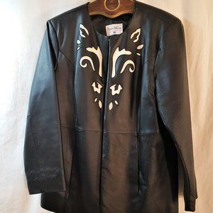 Pamela McCoy Ladies Black and White Leather Jacket